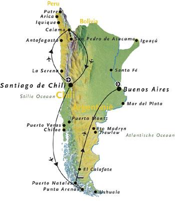 Routekaart Argentinie en Chili Zuid Amerika 19 dagen