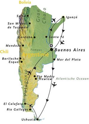 Routekaart Argentinie Zuid Amerika 16 dagen
