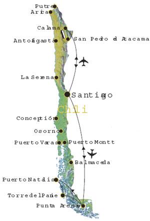 Routekaart Chili Zuid Amerika 18 dagen