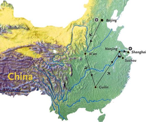 Routekaart China Azie 16 dagen