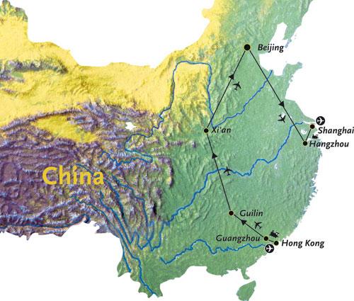 Routekaart China Azie 18 dagen