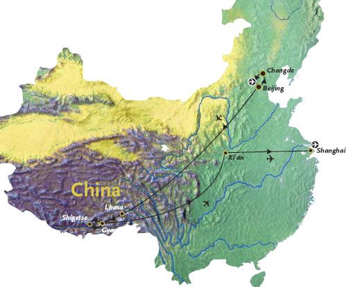 Routekaart China en Tibet Azie 20 dagen