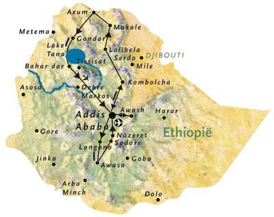 Routekaart Ethiopie Afrika 15 dagen