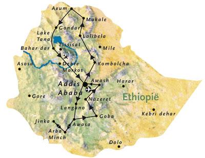 Routekaart Ethiopie Afrika 22 dagen
