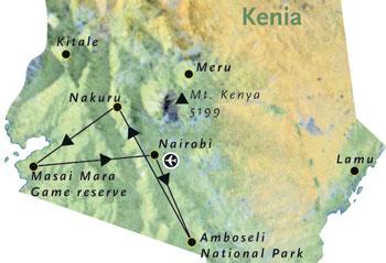 Routekaart Kenia Afrika 8 dagen