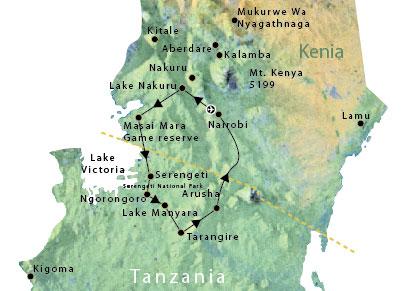 Routekaart Kenia en Tanzania Afrika 13 dagen