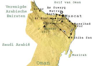 Routekaart Oman 9 dagen