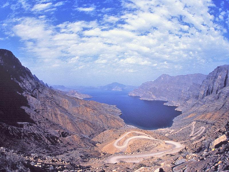 In Musandam het Omani schiereiland, zijn de uitzichten geweldig.