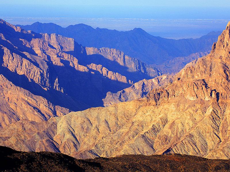 Het Hadjar gebergte vlakbij Nizwa in Oman.