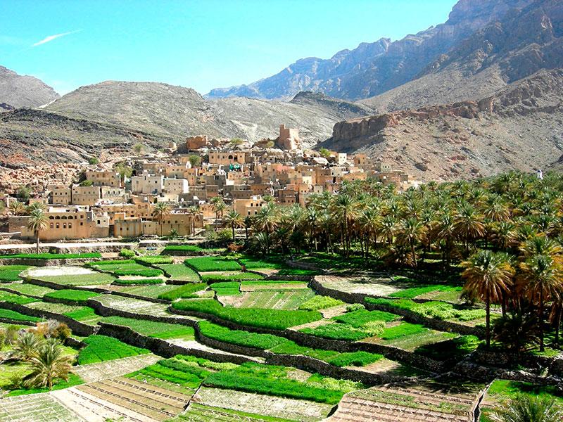 Een typisch Omani dorp in de bergen van Oman.