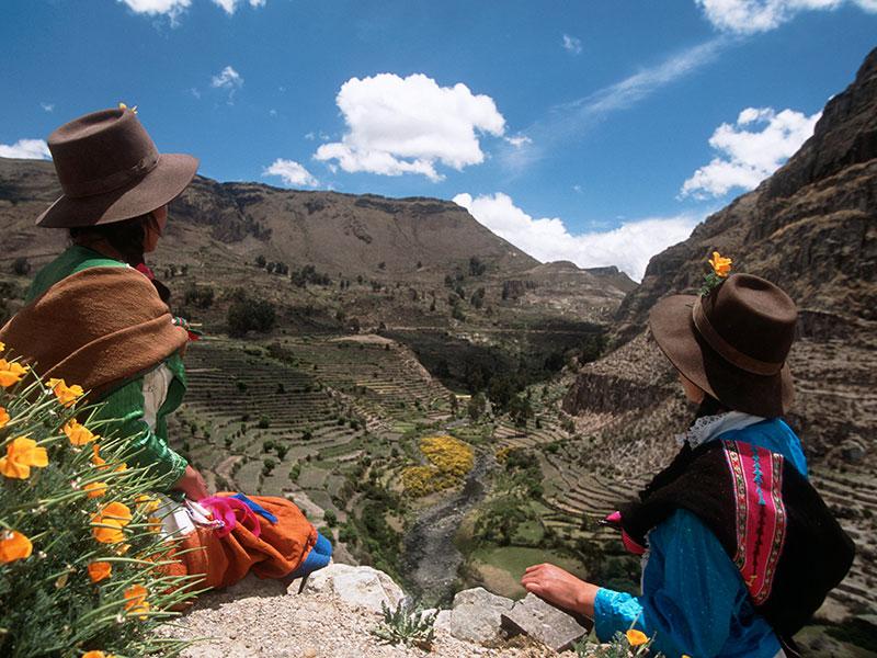 U kunt traditioneel geklede vrouwen gedurende uw individuele reis tegenkomen in de Andes in Peru.