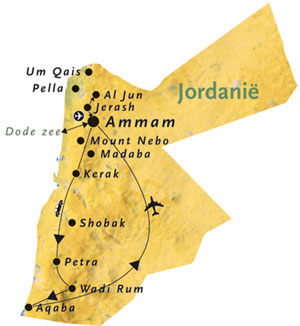 Jordanie 8-daagse rondreis kaart
