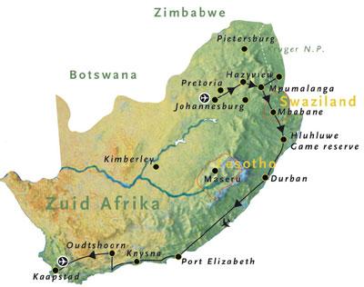 Zuid-Afrika map voor reisschema