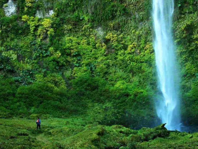Een waterval en groene natuur eromheen