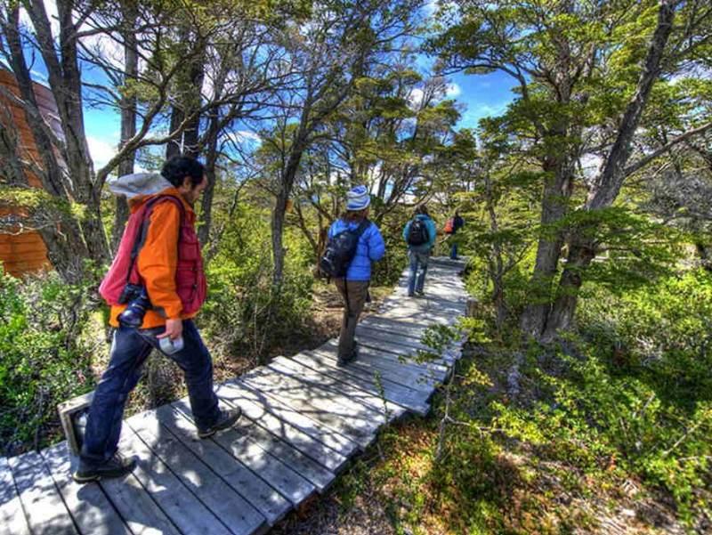 Toeristen die wandelen door Chili
