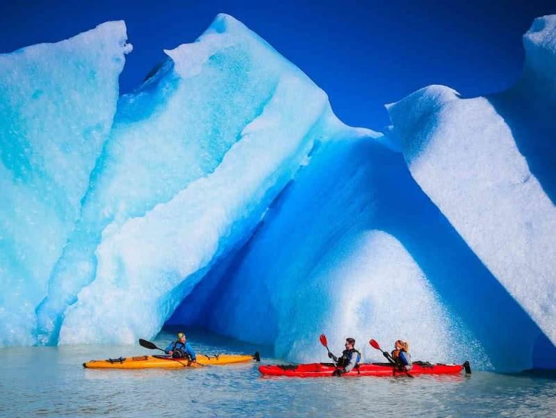 Een blauwe gletsjer in Chili