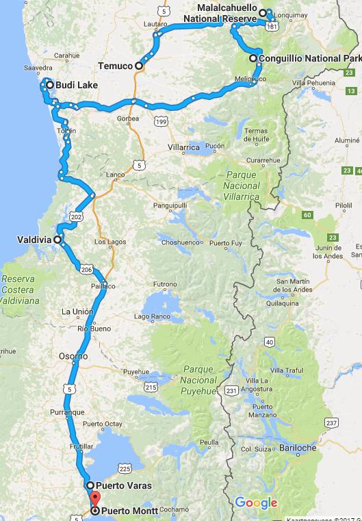 kaart van de 8 daagse rondreis door midden chili