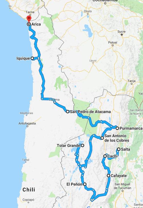 De route van de 19-daagse autorondreis door het noorden