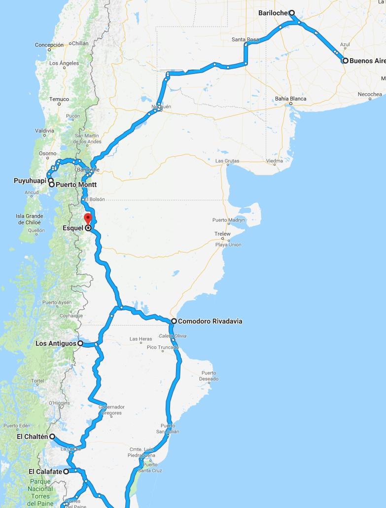 De kaart van uw rondreis door het zuiden van chili en Argentinië