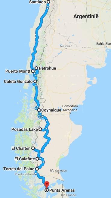 De route van uw rondreis Chili en Argentinië door Patagonië