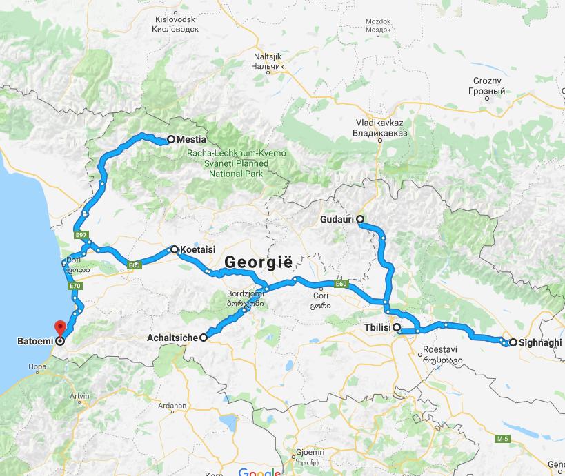 De route die u tijdens uw rondreis gaat maken