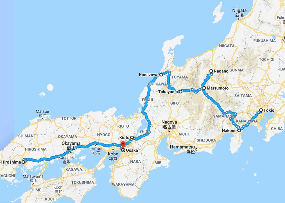 De route die u tijdens uw rondreis door Japan gaat maken.