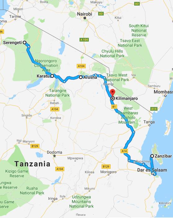 De route die u tijdens uw 12-daagse rondreis door Tanzania en Zanzibar gaat maken.