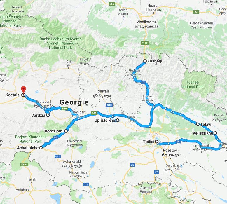 De route die u tijdens uw rondreis door Georgië gaat maken.