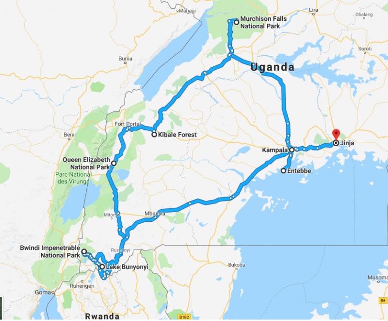 De route die u tijdens uw rondreis door Oeganda gaat maken